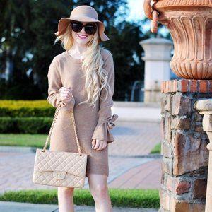 Madewell Tan Merino Wool Tie-Cuff Sweater Dress